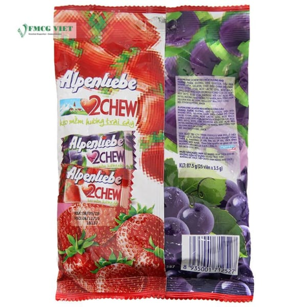Alpenliebe 2 Chew Mix Grape & Strawberry Flavor 120g