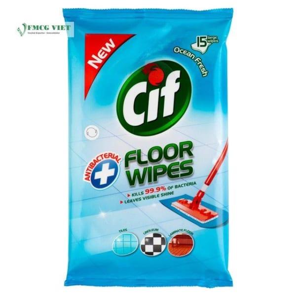Cif Antibacterial Floor Wipes Ocean Fresh 15p