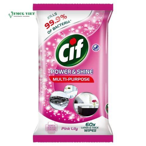 Cif Power & Shine Multipuporse Wipes Pink Lily 60p