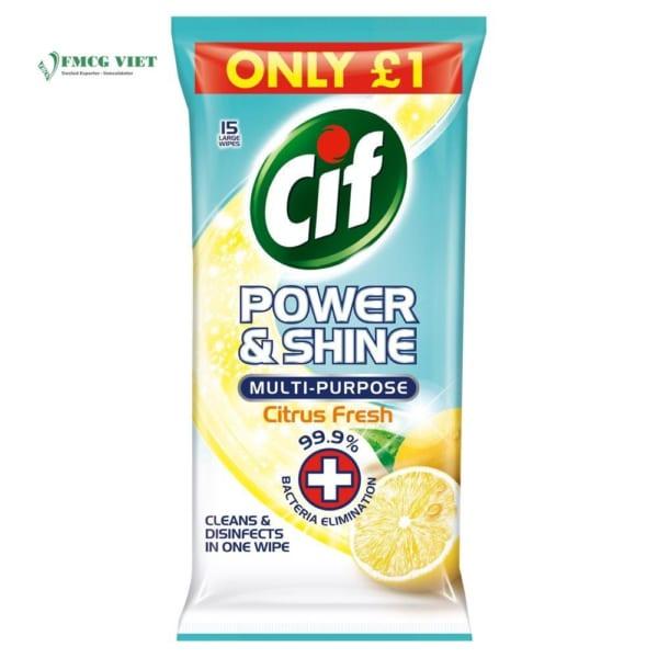 Cif Power & Shine Multipurpose Wipes Citrus Fresh 15p